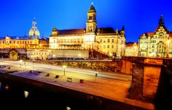 Dresden by night. View from the Augustus Bridge on the old part of town of Dresden skyline at dusk Royalty Free Stock Photography
