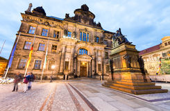 Dresden  at night with Court of Appeal and statue of Frederick A. Ugustus I. Lights and architecture in capital of Saxony, Germany Royalty Free Stock Photos