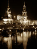Dresden by night (Germany). Historical buildings reflected in the river. Night shot, sepia tone added in postprocesing. The buildings are located in Dresden Stock Photos