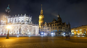 Dresden in night. Germany. Historical center of  Dresden in night. Germany Royalty Free Stock Images