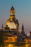 Dresden night, Germany - Frauenkirche Church, Art Academy. Dresden night - Frauenkirche (Church of Our Lady), Art Academy, dome,towers Royalty Free Stock Photography