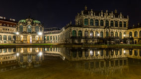 Dresden by night, Germany- Palace Zwinger reflected water Stock Photography