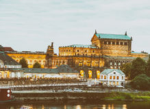 Dresden night landscape with medieval architecture and Elbe rive. R, Germany Royalty Free Stock Images