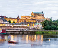 Dresden night landscape with medieval architecture and Elbe rive. R, Germany Stock Photos