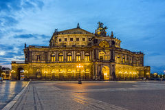 Dresden at night. Semper opera. Stock Photography