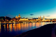 Dresden at night. Skyline of Dresden with Elbe River at night, saxony, germany Royalty Free Stock Photos