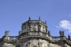 Dresden, o 28 de agosto: Fim de Trinitatis da catedral acima de Dresden em Alemanha Imagens de Stock
