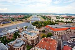 Dresden och bro Royaltyfri Foto