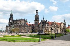 Dresden Old City. Church and Dresden Castle, Dresden, Germany Stock Image