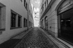 Dresden. The old streets in the historic center. Royalty Free Stock Images