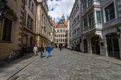 Dresden. The old streets in the historic center. Stock Image