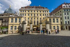 Dresden. The old streets in the historic center. Royalty Free Stock Photos