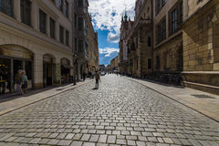 Dresden. The old streets in the historic center. Stock Photos