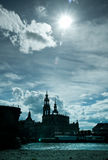 Dresden Old Town in counterlight Stock Images