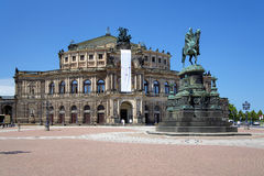 Dresden Opera House and monument to King John Royalty Free Stock Image
