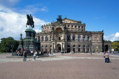 Dresden Opera House and monument to King John Royalty Free Stock Photo