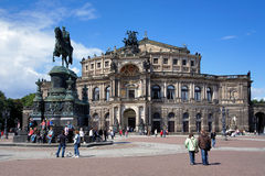 Dresden Opera House and monument to King John Stock Photos