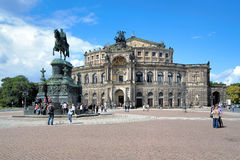 Dresden Opera House and monument to King John of Saxony Royalty Free Stock Images