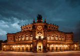 Dresden Opera Theatre at night Royalty Free Stock Photography