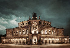 Dresden Opera Theatre at night Stock Photography