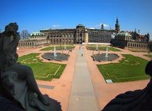 Dresden, opinión granangular de Zwinger Imagen de archivo libre de regalías