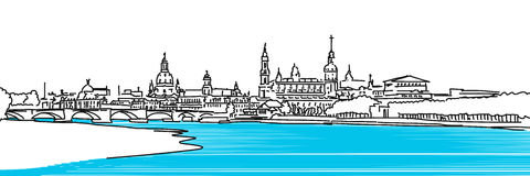Dresden Panaroma Sketch, colored river Elbe Royalty Free Stock Photo