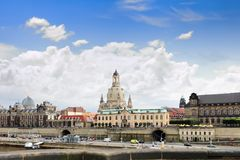 Dresden panorama from Elbe bridge. Stock Photo