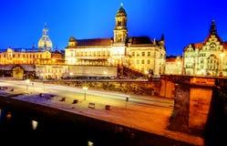 Dresden por noche Fotografía de archivo libre de regalías