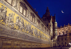 Dresden Procession of Princes Mosaic by night Royalty Free Stock Photography