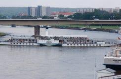 Dresden, rij op Elbe Stock Fotografie