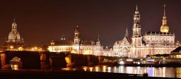 Dresden Sachsen, Tyskland på natten Arkivbilder