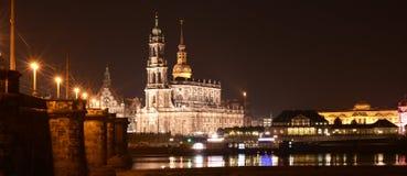 Dresden Sachsen, Tyskland på natten Fotografering för Bildbyråer