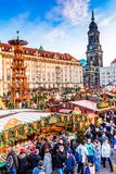 Dresden, Germany -  Striezelmarkt on Christmas. DRESDEN, SAXONY / GERMANY -  17 DECEMBER 2016: People visit Christmas Market  Striezelmarkt in Dresden, Germany Stock Image