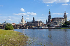 Dresden from the shore of river Elbe Stock Photo