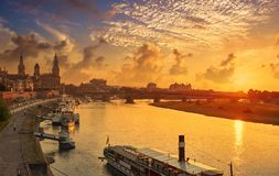 Dresden skyline and Elbe river in Saxony Germany Stock Photography
