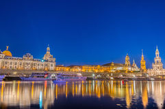 Dresden skyline at night Stock Photography