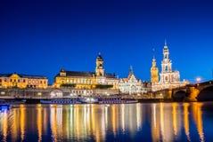 Dresden skyline at night near river Royalty Free Stock Photos