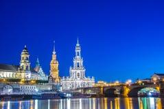 Dresden skyline at night near river Stock Photo