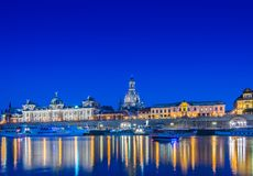 Dresden skyline at night near river Royalty Free Stock Photography