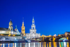 Dresden skyline at night near river Royalty Free Stock Image