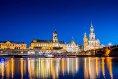 Dresden skyline at night near river Stock Photography