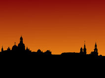 Dresden skyline at sunset Stock Photos