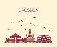 Dresden skyline vector illustration linear style Royalty Free Stock Photography