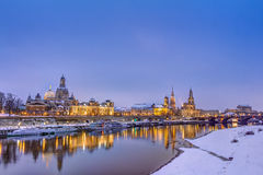 Dresden skyline in winter Stock Images