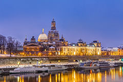 Dresden skyline in winter Stock Photos