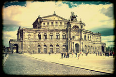 Dresden State Opera. Vintage. Old retro style. Stock Image