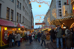 Dresden street at Christmastime Royalty Free Stock Photos