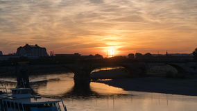 Dresden: Sunset on the Elbe promenade Royalty Free Stock Photo