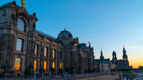 Dresden: Sunset on the Elbe promenade Royalty Free Stock Photography