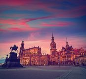 Dresden sunset at Theaterplatz in Saxony Germany Royalty Free Stock Image